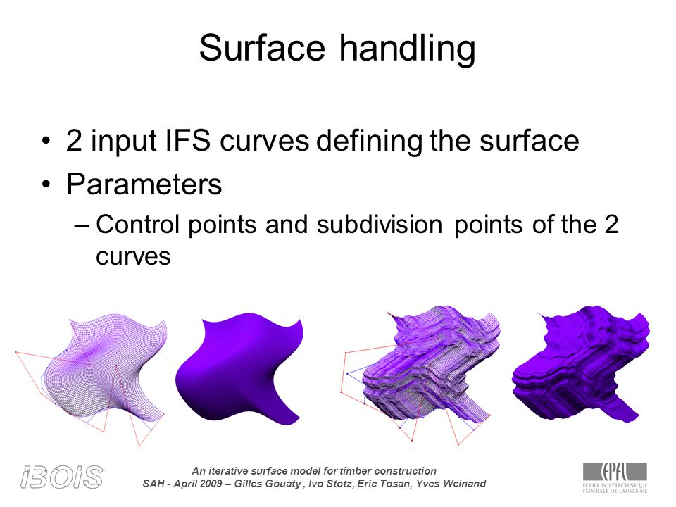 An iterative surface model for timber construction SAH - April 2009 – Gilles Gouaty, Ivo Stotz, Eric Tosan, Yves Weinand Surface handling 2 input IFS curves defining the surface Parameters –Control points and subdivision points of the 2 curves