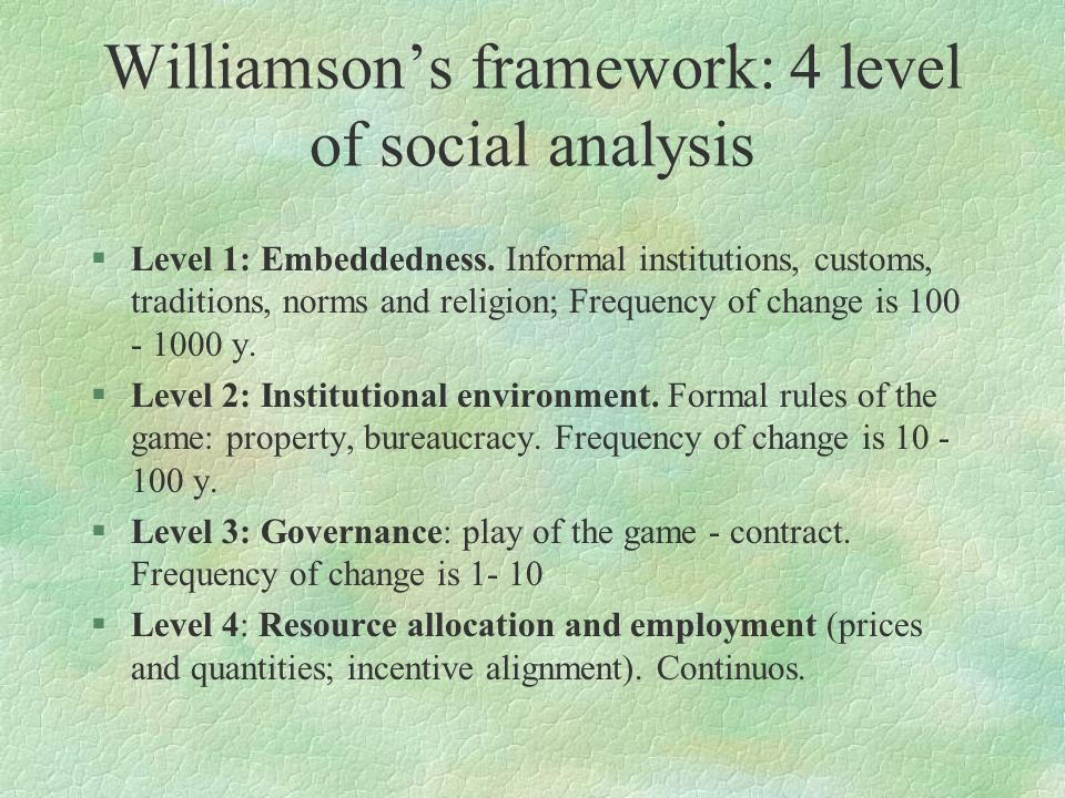Williamson's framework: 4 level of social analysis §Level 1: Embeddedness. Informal institutions, customs, traditions, norms and religion; Frequency o
