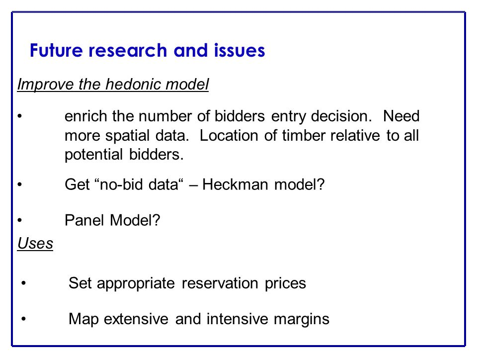 Future research and issues Improve the hedonic model enrich the number of bidders entry decision.