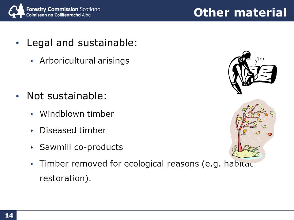 14 Other material Legal and sustainable: Arboricultural arisings Not sustainable: Windblown timber Diseased timber Sawmill co-products Timber removed for ecological reasons (e.g.