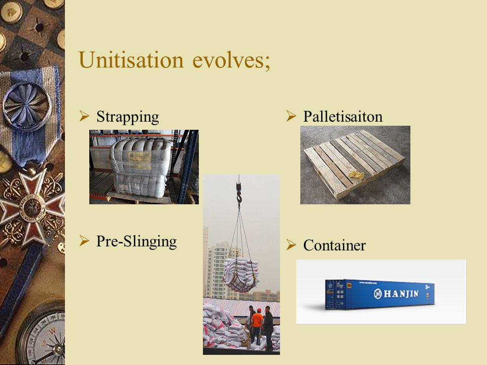 Unitisation evolves;  Strapping  Pre-Slinging  Palletisaiton  Container