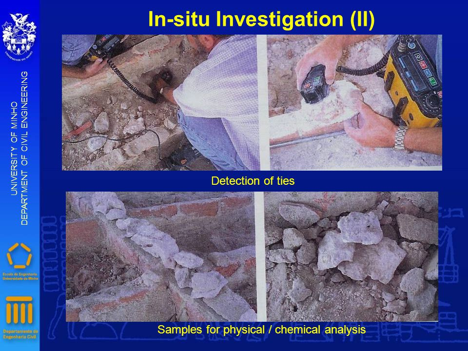 In-situ Investigation (II) UNIVERSITY OF MINHO DEPARTMENT OF CIVIL ENGINEERING Detection of ties Samples for physical / chemical analysis