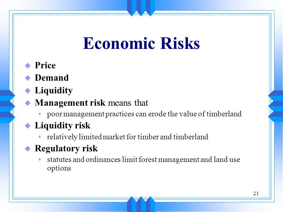 21 Economic Risks u Price u Demand u Liquidity u Management risk means that poor management practices can erode the value of timberland u Liquidity ri