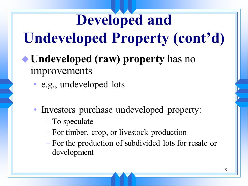 29 Real Estate Investment Trusts u A real estate investment trust is a convenient means of investing in a portfolio of real estate properties It is essentially a closed-end investment company including real estate It usually owns and operates a variety of forms of income-producing real estate