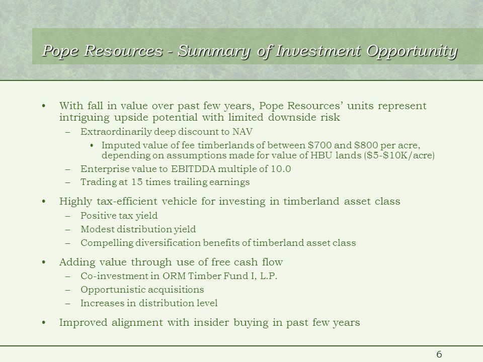7 Pope Resources Unit Price vs. Douglas-Fir Log Prices (98-03)