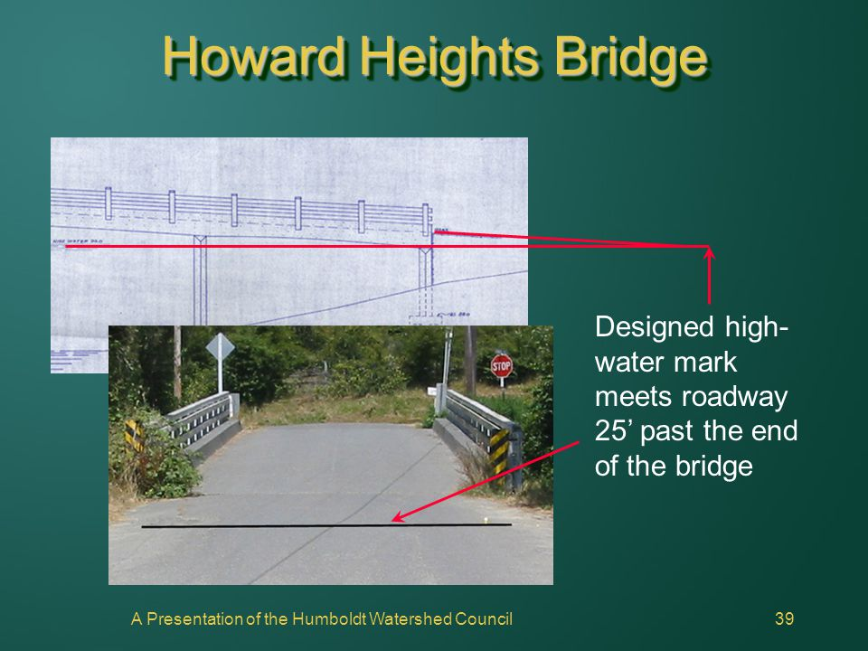A Presentation of the Humboldt Watershed Council39 Howard Heights Bridge Designed high- water mark meets roadway 25' past the end of the bridge
