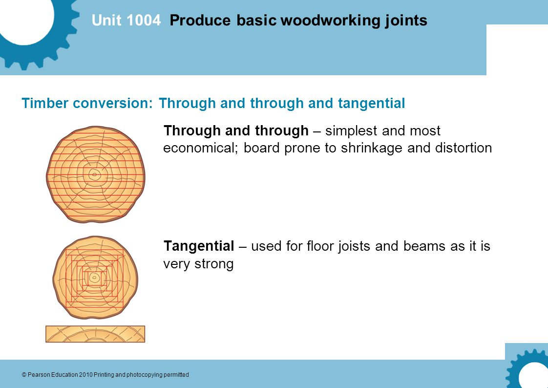 Unit 1004 Produce basic woodworking joints © Pearson Education 2010 Printing and photocopying permitted Timber conversion: Through and through and tangential Through and through – simplest and most economical; board prone to shrinkage and distortion Tangential – used for floor joists and beams as it is very strong