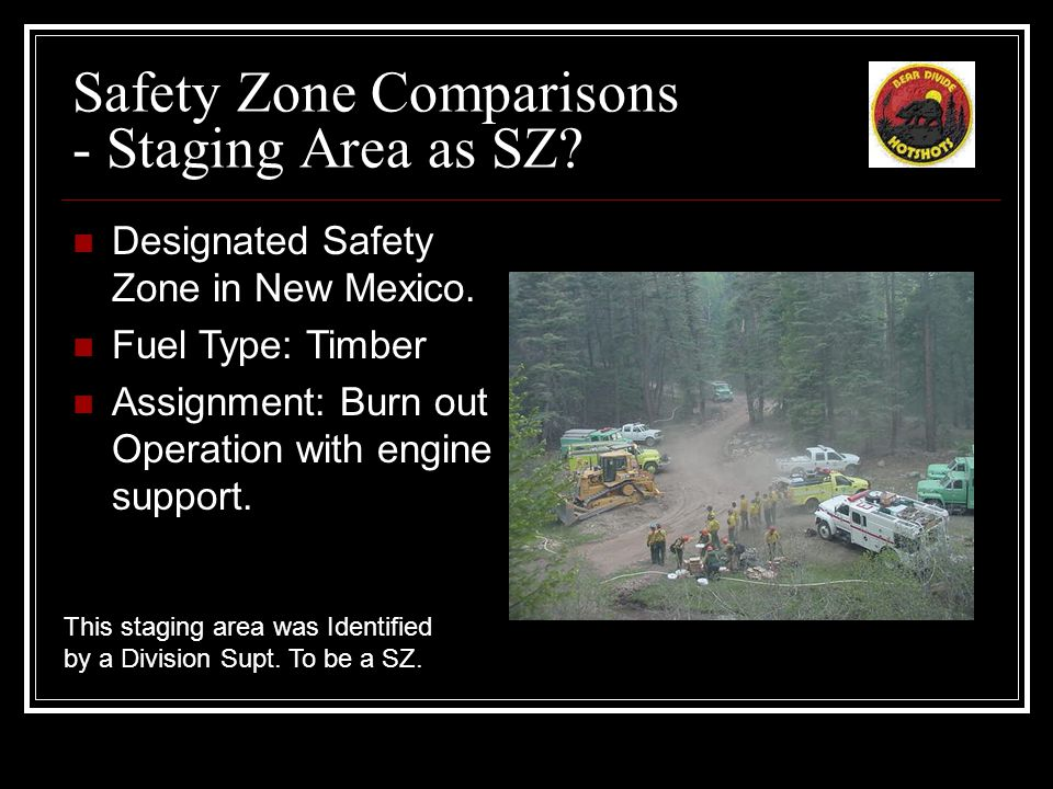 Safety Zone Comparisons - Staging Area as SZ. Designated Safety Zone in New Mexico.