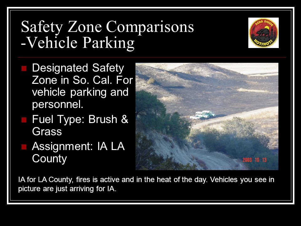 Safety Zone Comparisons -Vehicle Parking Designated Safety Zone in So.