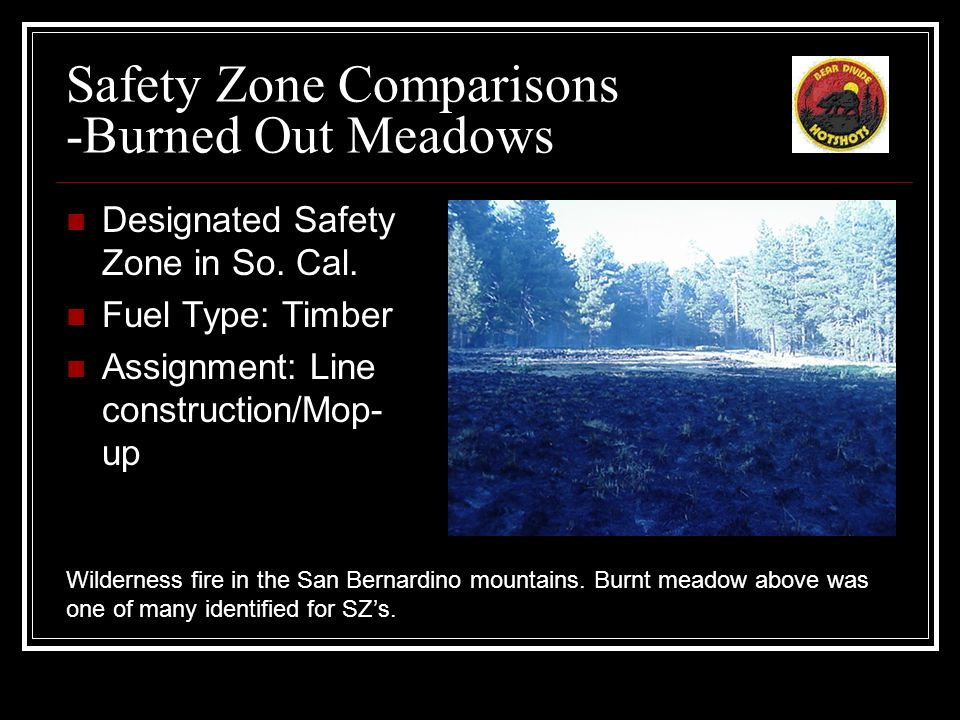 Safety Zone Comparisons - Open Meadow Designated Safety Zone in So.