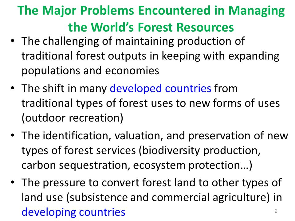 The Major Problems Encountered in Managing the World's Forest Resources The challenging of maintaining production of traditional forest outputs in keeping with expanding populations and economies The shift in many developed countries from traditional types of forest uses to new forms of uses (outdoor recreation) The identification, valuation, and preservation of new types of forest services (biodiversity production, carbon sequestration, ecosystem protection…) The pressure to convert forest land to other types of land use (subsistence and commercial agriculture) in developing countries 2