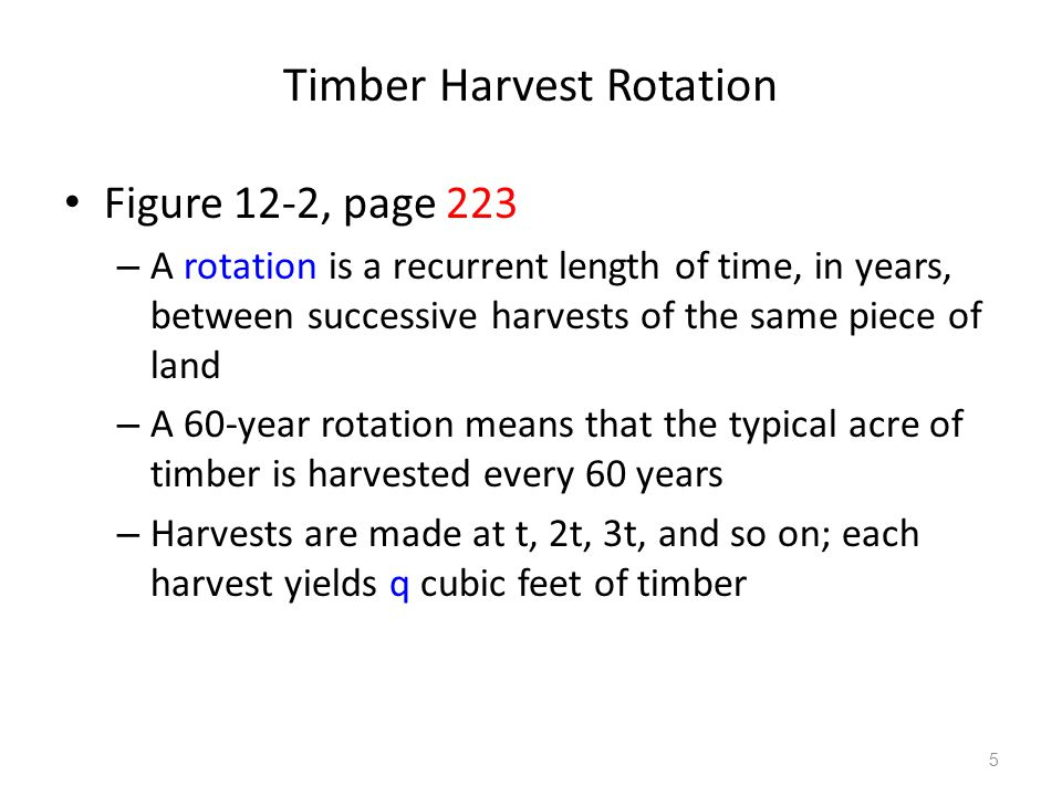 Timber Harvest Rotation Figure 12-2, page 223 – A rotation is a recurrent length of time, in years, between successive harvests of the same piece of land – A 60-year rotation means that the typical acre of timber is harvested every 60 years – Harvests are made at t, 2t, 3t, and so on; each harvest yields q cubic feet of timber 5
