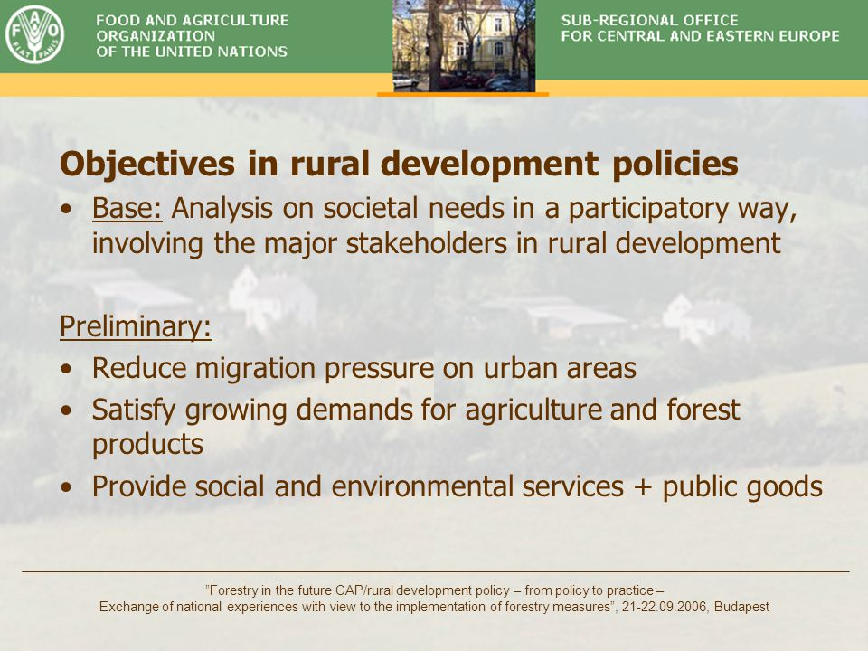 "Timber Committee ""Forestry in the future CAP/rural development policy – from policy to practice – Exchange of national experiences with view to the im"