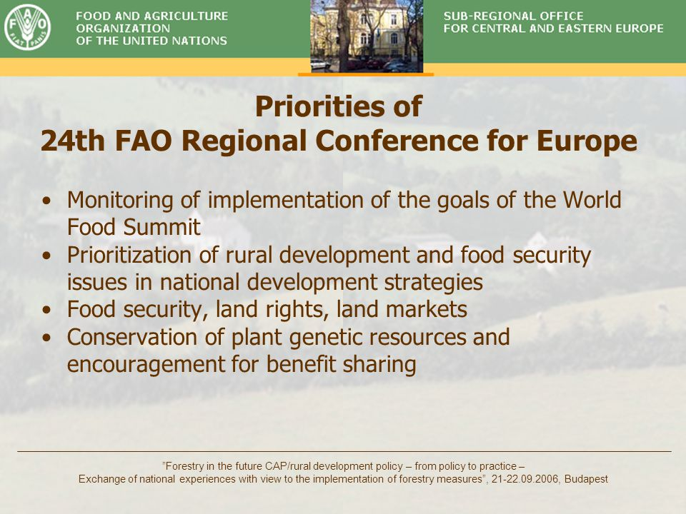 Timber Committee Forestry in the future CAP/rural development policy – from policy to practice – Exchange of national experiences with view to the implementation of forestry measures , 21-22.09.2006, Budapest Twenty-Fifth FAO Regional Conference for Europe UN System and FAO Approach Contribution of Rural Development in Meeting the World Food Summit (WFS)/Millennium Development Goals (MDGs) in the Region