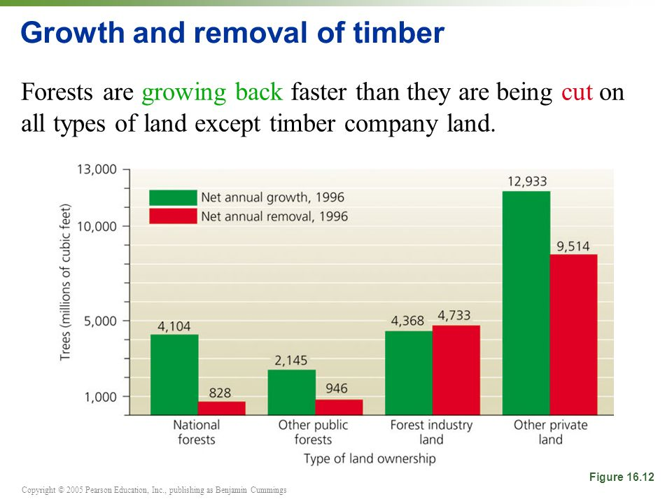 Copyright © 2005 Pearson Education, Inc., publishing as Benjamin Cummings Growth and removal of timber Forests are growing back faster than they are being cut on all types of land except timber company land.