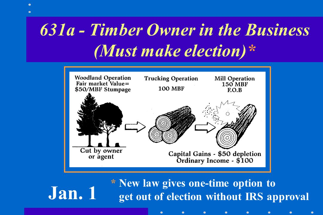 Timber Sales Provisions (con't) Realizes gain or loss equal to difference between timber's Fair Market Value (FMV) on the first day of the tax year of