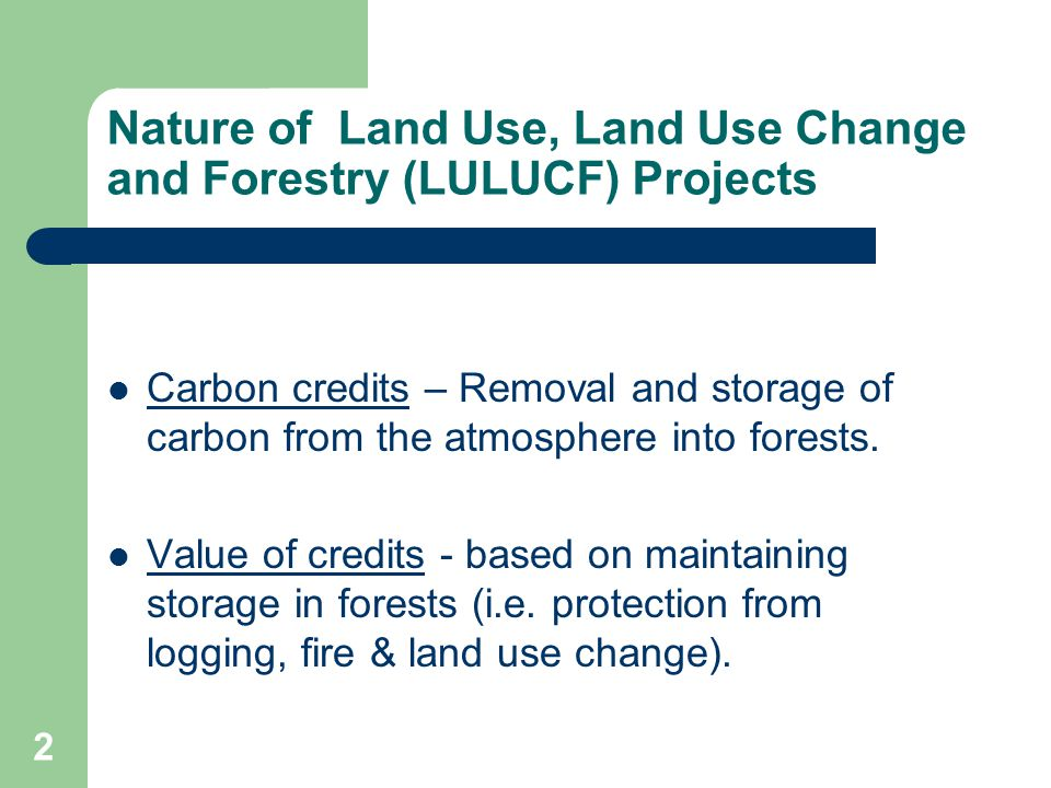 2 Nature of Land Use, Land Use Change and Forestry (LULUCF) Projects Carbon credits – Removal and storage of carbon from the atmosphere into forests.