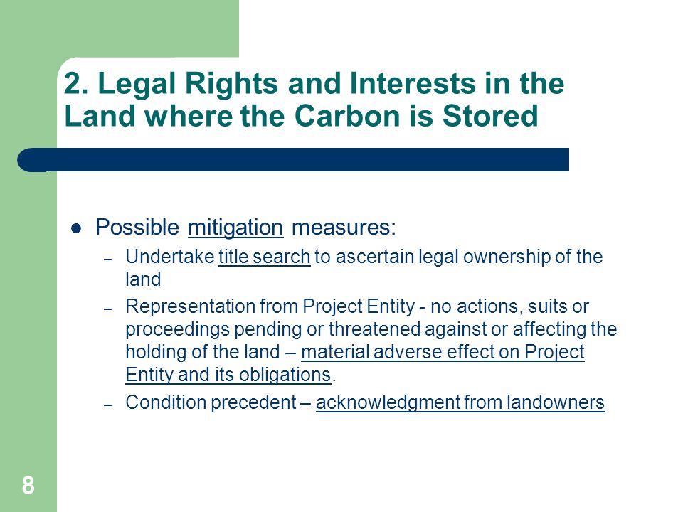 8 2. Legal Rights and Interests in the Land where the Carbon is Stored Possible mitigation measures: – Undertake title search to ascertain legal owner