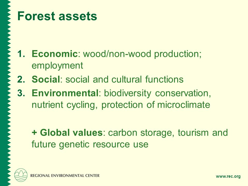 www.rec.org Introduction Definition of illegal logging Timber harvested, transported, processed and/or traded in contravention of the national laws of the country of harvest and certain international treaties such as the Convention on International Trade in Endangered Species (CITES).