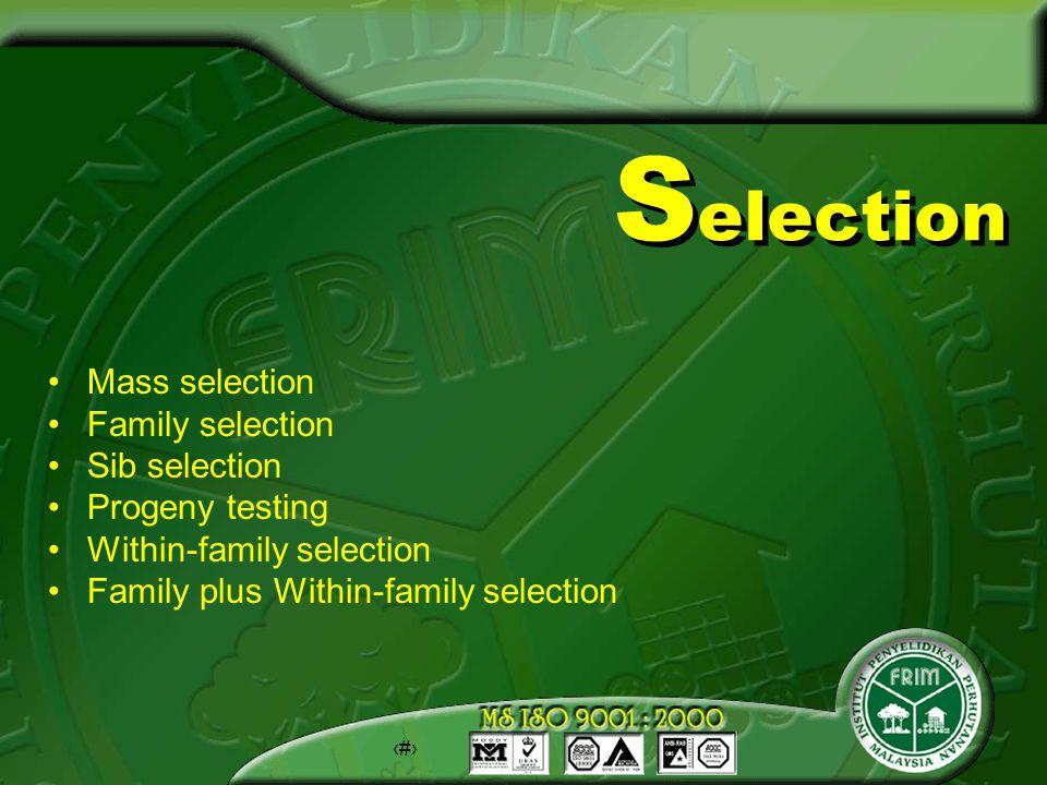19 S election Mass selection Family selection Sib selection Progeny testing Within-family selection Family plus Within-family selection