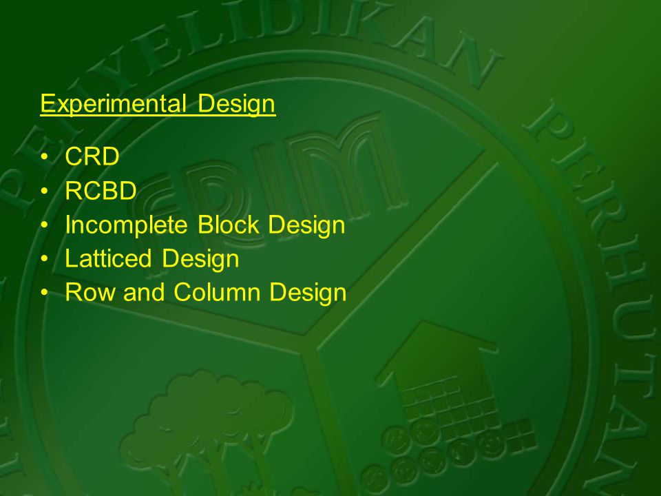 Experimental Design CRD RCBD Incomplete Block Design Latticed Design Row and Column Design