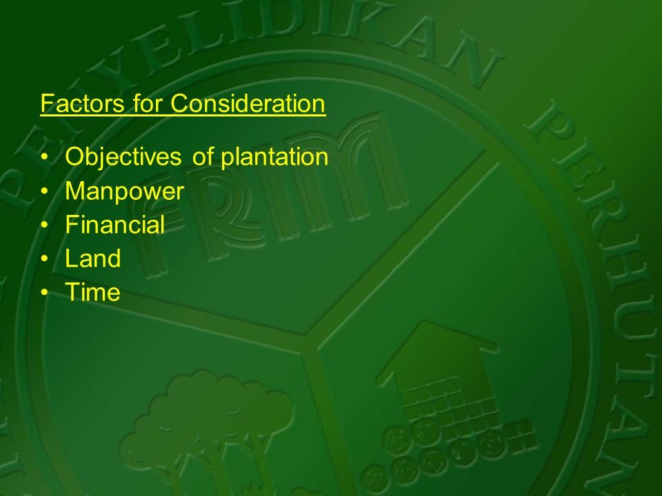 Factors for Consideration Objectives of plantation Manpower Financial Land Time