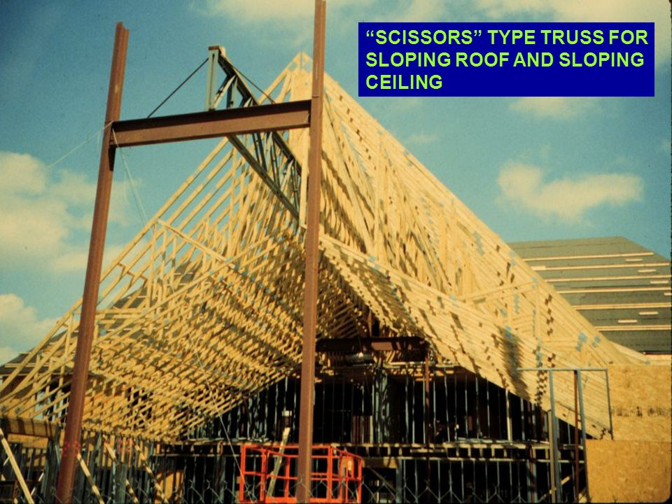 SCISSORS TYPE TRUSS FOR SLOPING ROOF AND SLOPING CEILING