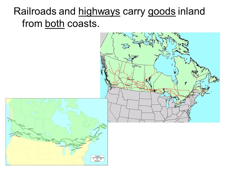 Railroads and highways carry goods inland from both coasts.