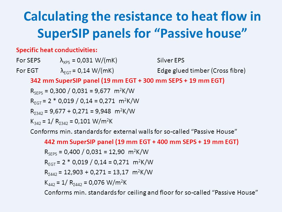 Calculating the resistance to heat flow in SuperSIP panels 170 mm SuperSIP panel (12 mm MGB + 146 mm XPS + 12 mm MGB) R XPS = 0,146 / 0,037 = 3,946 m