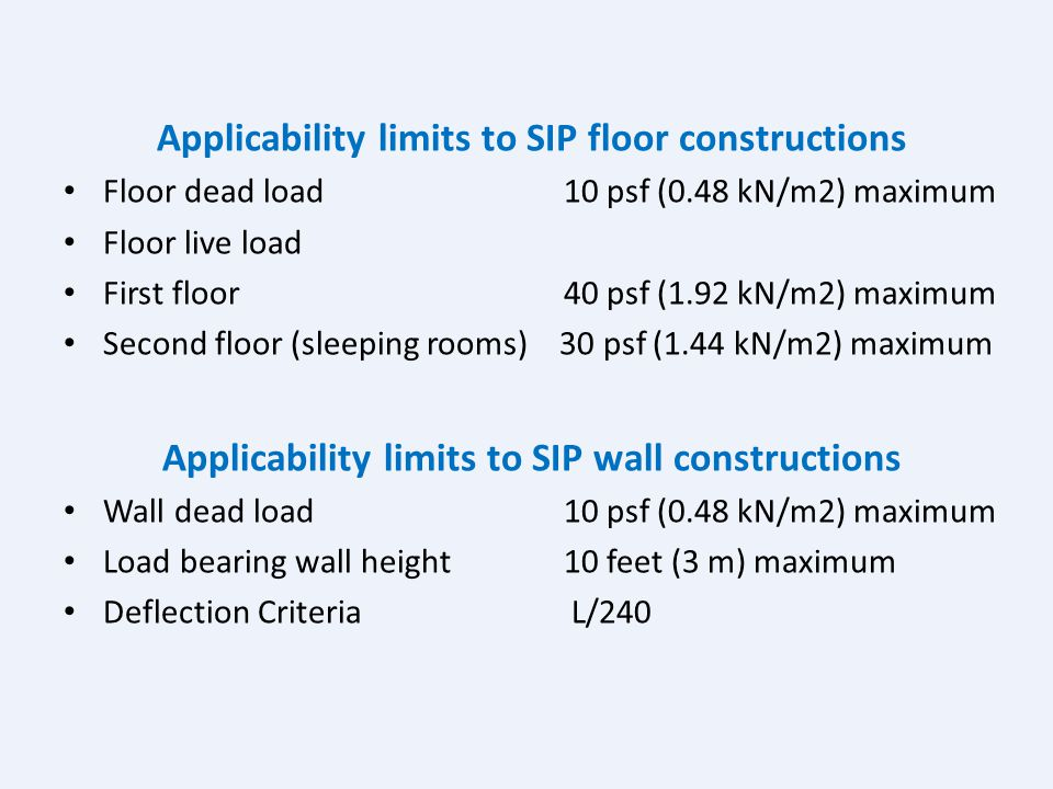 2007 Supplement to the IRC (RB34 – 06/07) Section R614 Applicability limits to SIP constructions - General Building Dimensions: Maximum building witdh