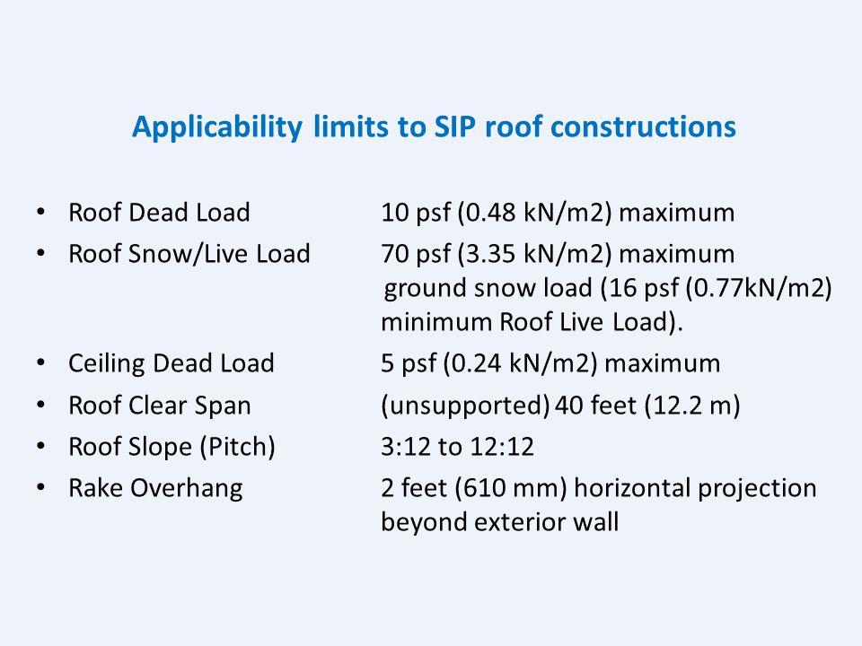 Applicability limits to SIP floor constructions Floor dead load 10 psf (0.48 kN/m2) maximum Floor live load First floor 40 psf (1.92 kN/m2) maximum Se