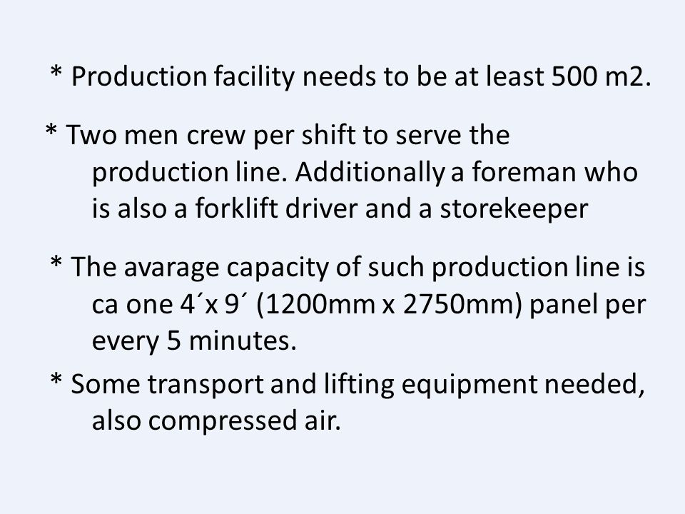 Production of SIPs Calculations for minimum needs