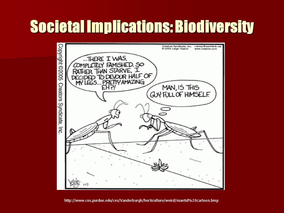 Societal Implications: Biodiversity http://www.ces.purdue.edu/ces/Vanderburgh/horticulture/weird/mantid%20cartoon.bmp