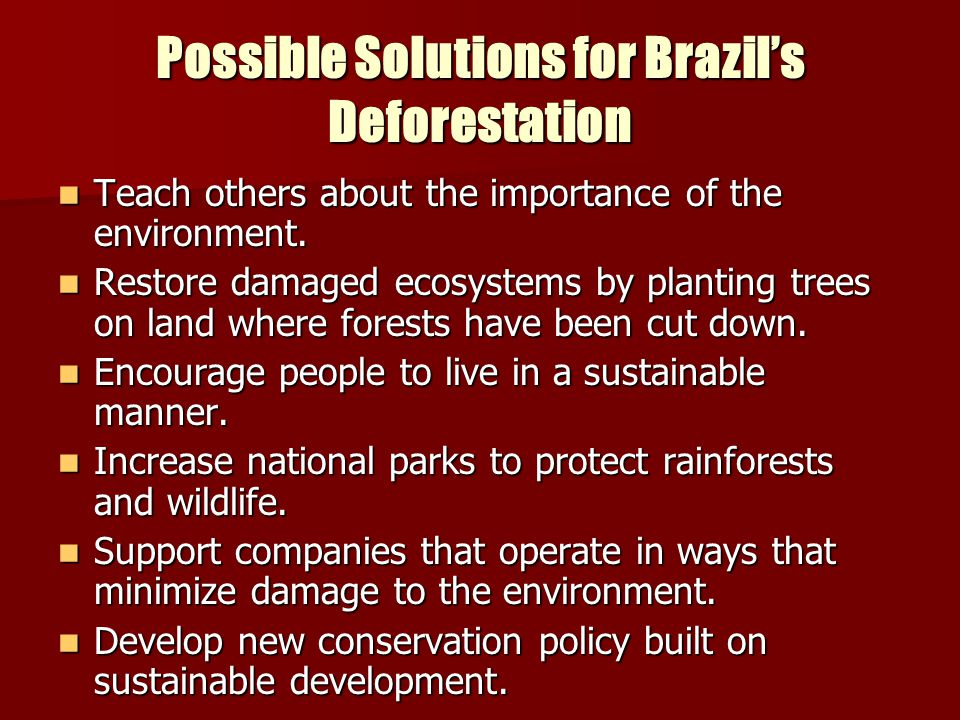 Possible Solutions for Brazil's Deforestation Teach others about the importance of the environment. Teach others about the importance of the environme
