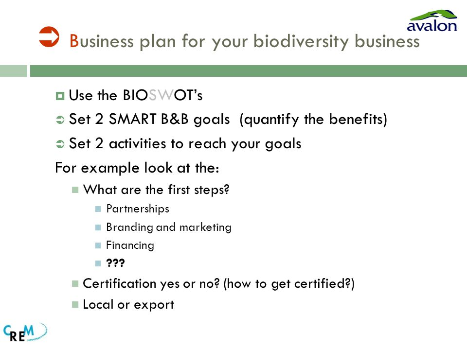  Business plan for your biodiversity business  Use the BIOSWOT's  Set 2 SMART B&B goals (quantify the benefits)  Set 2 activities to reach your goals For example look at the: What are the first steps.