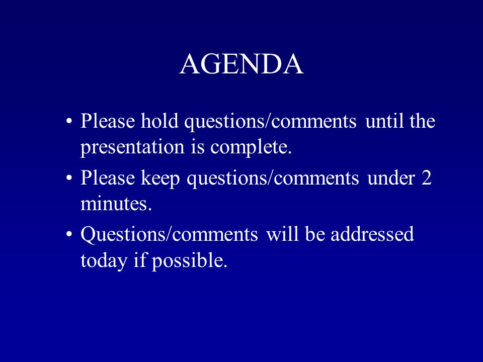 AGENDA INTRODUCTION PRESCRIPTION ECOSYSTEM BENEFITS EXPECTATIONS CONCLUSION QUESTION AND ANSWER SESSION