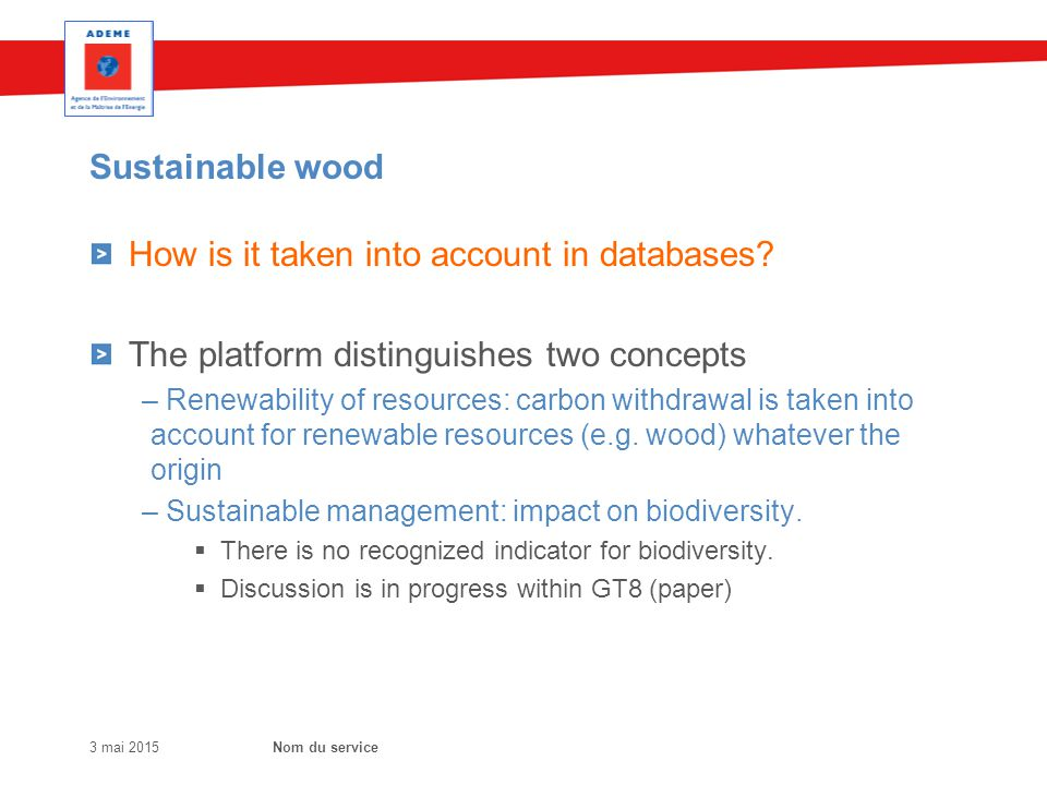Sustainable wood How is it taken into account in databases.