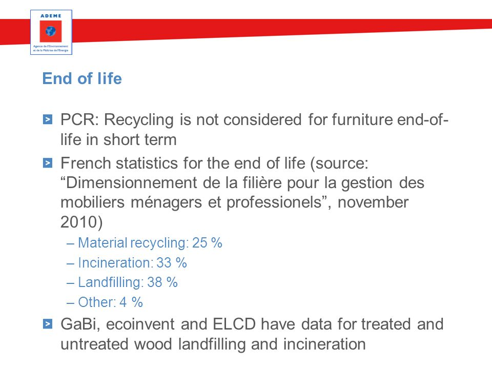 End of life PCR: Recycling is not considered for furniture end-of- life in short term French statistics for the end of life (source: Dimensionnement de la filière pour la gestion des mobiliers ménagers et professionels , november 2010) – Material recycling: 25 % – Incineration: 33 % – Landfilling: 38 % – Other: 4 % GaBi, ecoinvent and ELCD have data for treated and untreated wood landfilling and incineration