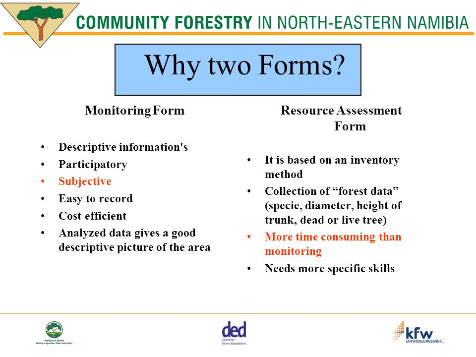 Monitoring Form Descriptive information s Participatory Subjective Easy to record Cost efficient Analyzed data gives a good descriptive picture of the area Resource Assessment Form It is based on an inventory method Collection of forest data (specie, diameter, height of trunk, dead or live tree) More time consuming than monitoring Needs more specific skills Why two Forms