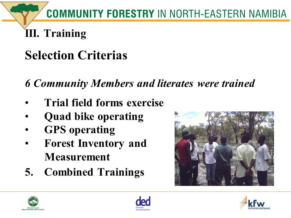 IV.Cost Ncumcara Community Forest, 15.000 ha 1. Training N$ 1500.00 2.