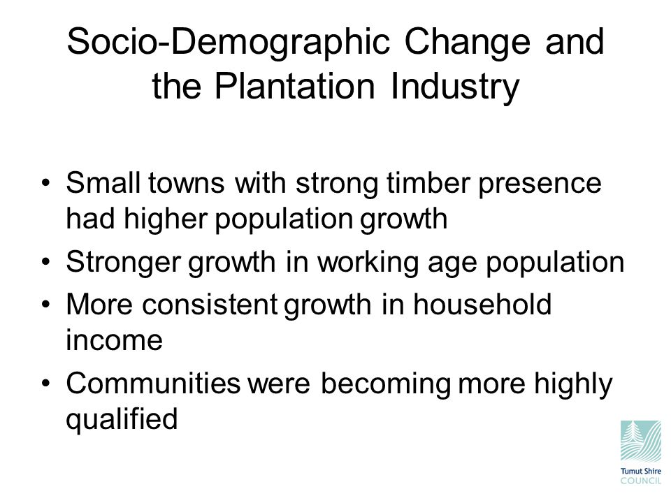 Socio-Demographic Change and the Plantation Industry Small towns with strong timber presence had higher population growth Stronger growth in working a