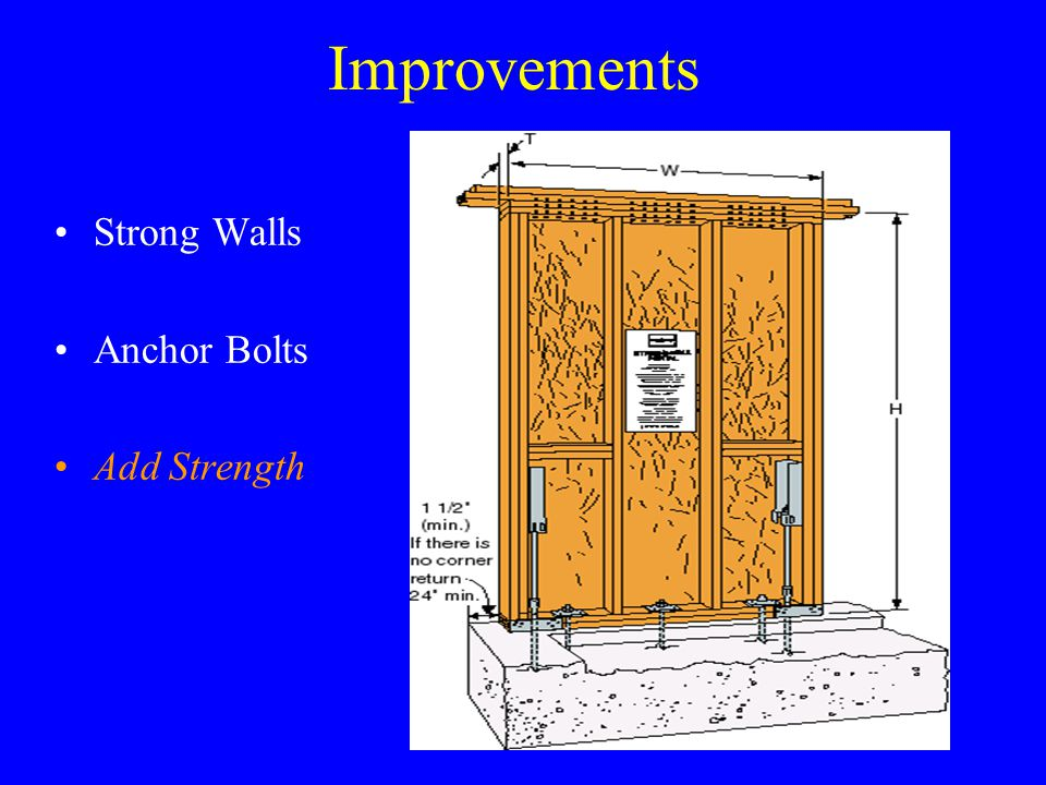 Improvements Strong Walls Anchor Bolts Add Strength