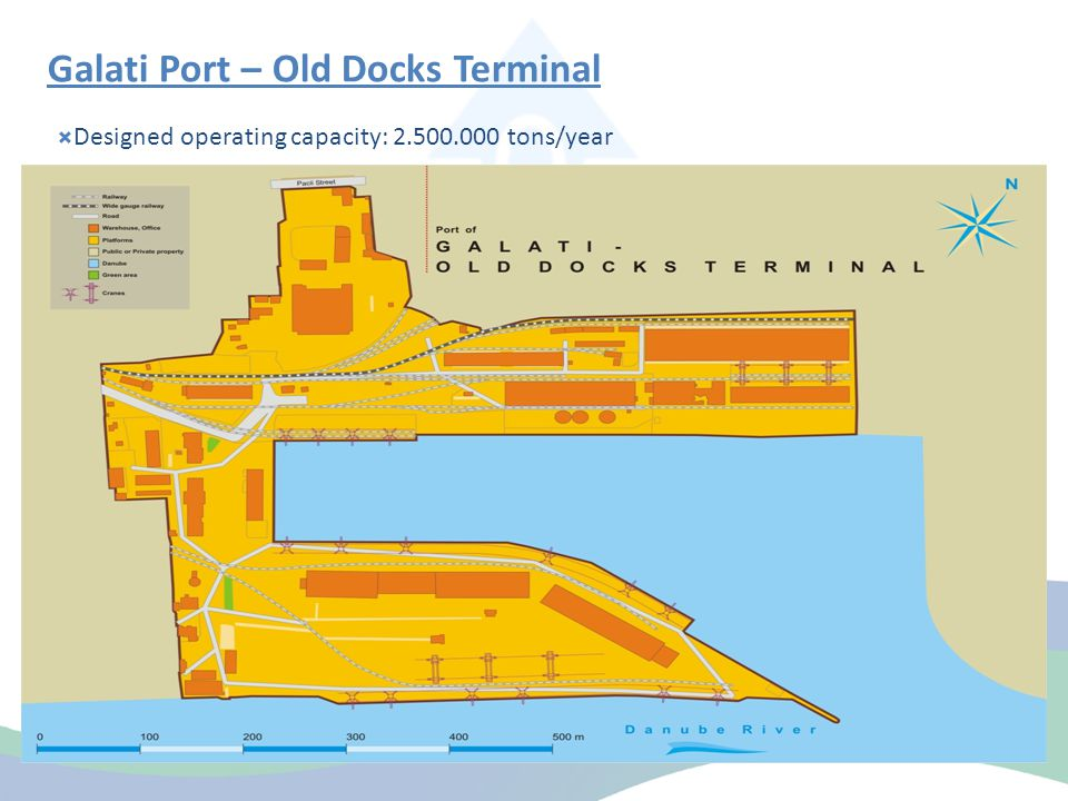 Galati Port – Old Docks Terminal  Designed operating capacity: 2.500.000 tons/year