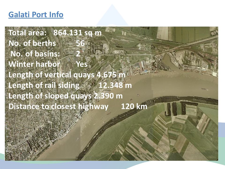 Galati Port Info Total area: 864.131 sq m No. of berths56 No.