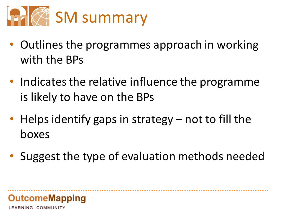 SM summary Outlines the programmes approach in working with the BPs Indicates the relative influence the programme is likely to have on the BPs Helps