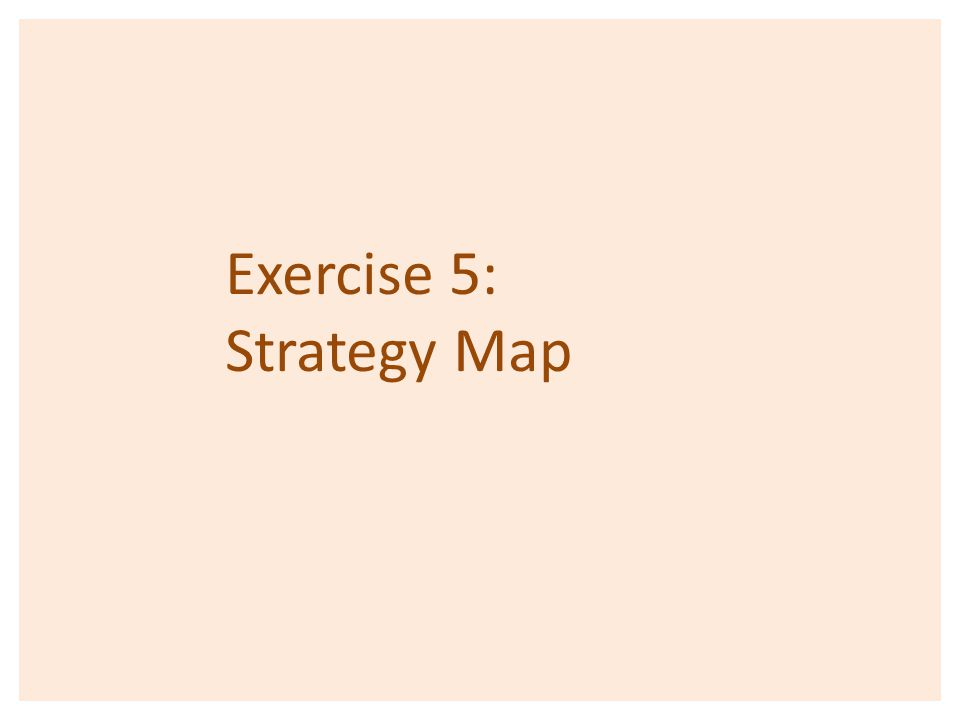 Exercise 5: Strategy Map