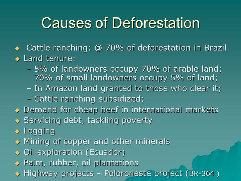 Causes of Deforestation  Cattle ranching: @ 70% of deforestation in Brazil  Land tenure: –5% of landowners occupy 70% of arable land; 70% of small landowners occupy 5% of land; –In Amazon land granted to those who clear it; –Cattle ranching subsidized;  Demand for cheap beef in international markets  Servicing debt, tackling poverty  Logging  Mining of copper and other minerals  Oil exploration (Ecuador)  Palm, rubber, oil plantations  Highway projects – Poloroneste project ( BR-364 )