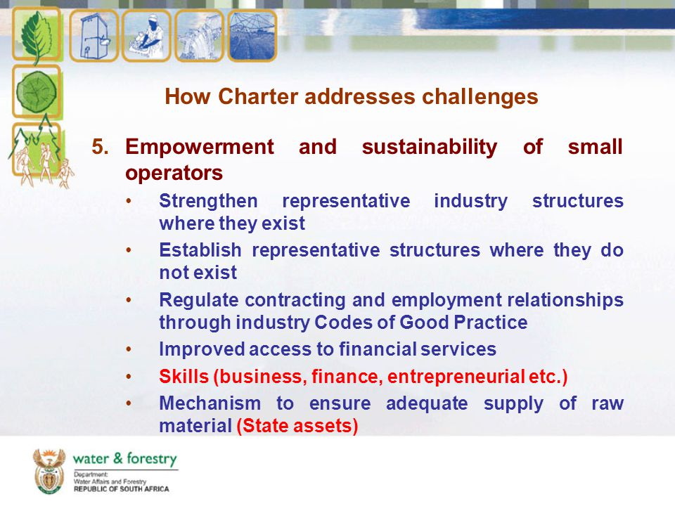 How Charter addresses challenges 5.Empowerment and sustainability of small operators Strengthen representative industry structures where they exist Establish representative structures where they do not exist Regulate contracting and employment relationships through industry Codes of Good Practice Improved access to financial services Skills (business, finance, entrepreneurial etc.) Mechanism to ensure adequate supply of raw material (State assets)