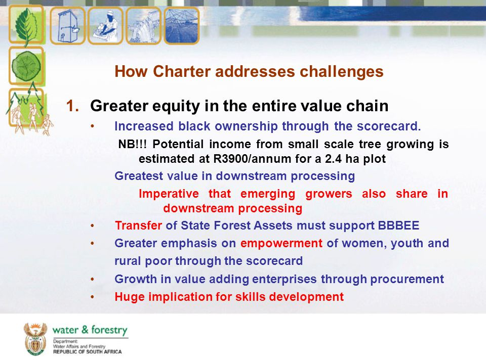 How Charter addresses challenges 1.Greater equity in the entire value chain Increased black ownership through the scorecard.