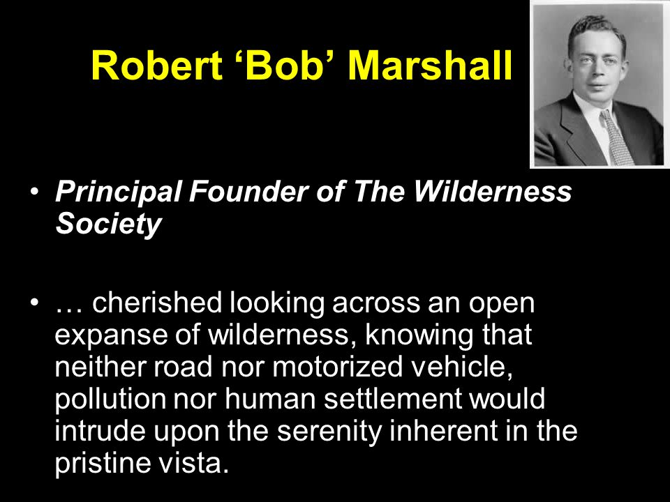 Robert 'Bob' Marshall Principal Founder of The Wilderness Society … cherished looking across an open expanse of wilderness, knowing that neither road nor motorized vehicle, pollution nor human settlement would intrude upon the serenity inherent in the pristine vista.
